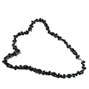 VTG Black and Silver Glass Beaded Necklace